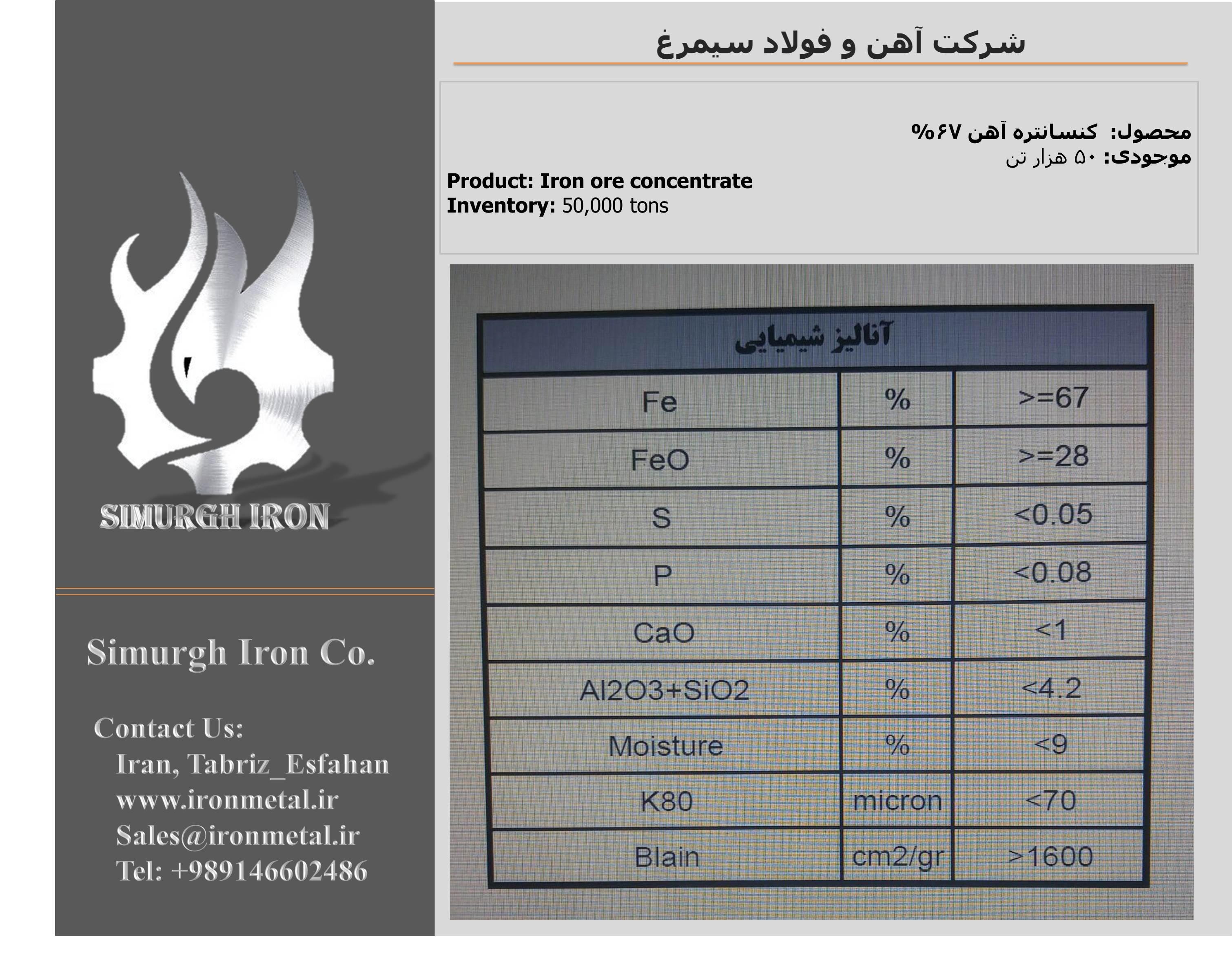 فروش کنسانتره سنگ آهن زنجان